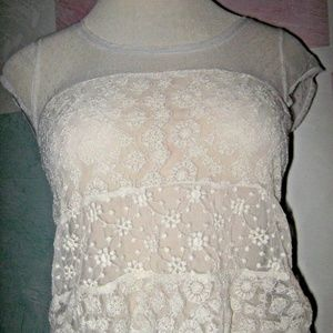 Cream Sheer Floral Stretch Lace Cap Sleeve Top S
